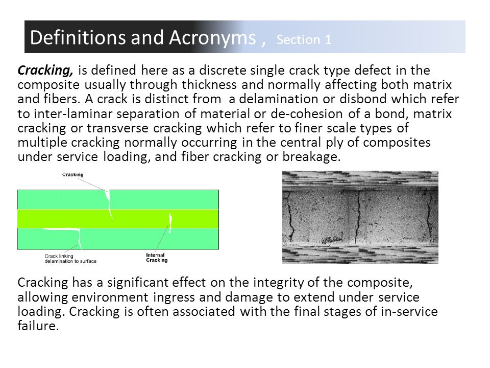 Cracking, is defined here as a discrete single crack type defect in the composite usually through thickness and normally affecting both matrix and fib
