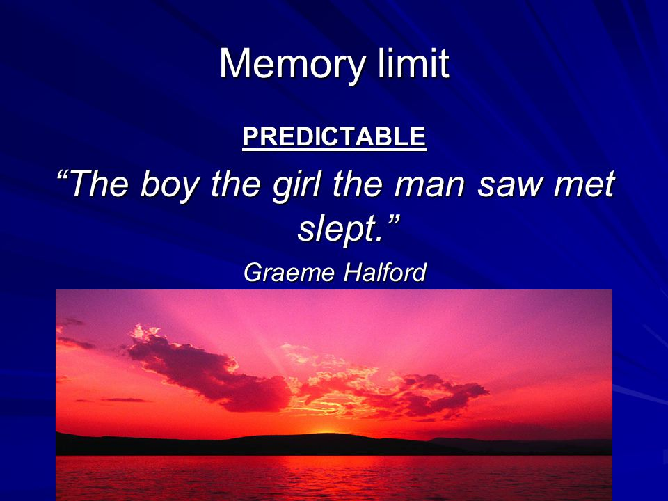 Memory limit PREDICTABLE The boy the girl the man saw met slept. Graeme Halford