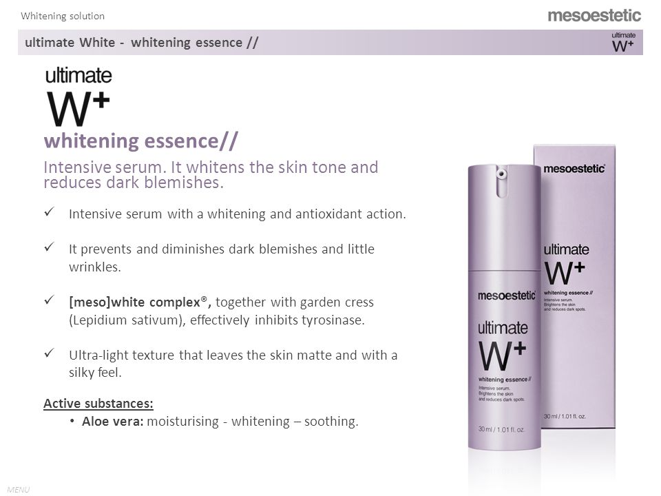 MENU Whitening solution Intensive serum with a whitening and antioxidant action.