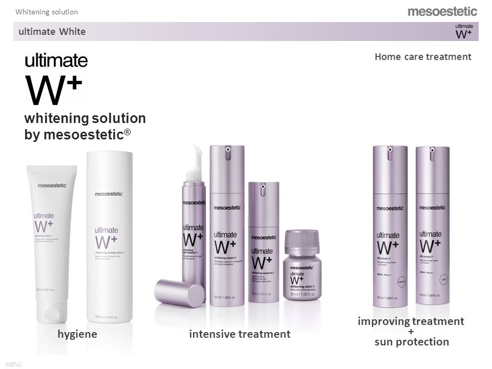 MENU Whitening solution whitening solution by mesoestetic ® hygiene Home care treatment intensive treatment improving treatment + sun protection ultimate White