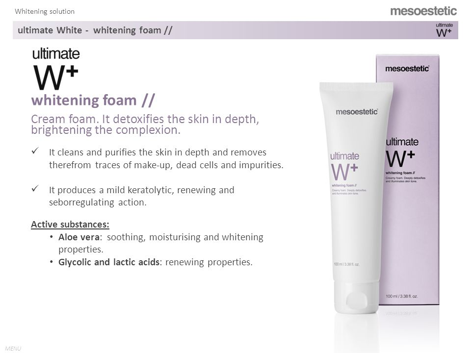 MENU Whitening solution ultimate White - whitening foam // It cleans and purifies the skin in depth and removes therefrom traces of make-up, dead cells and impurities.