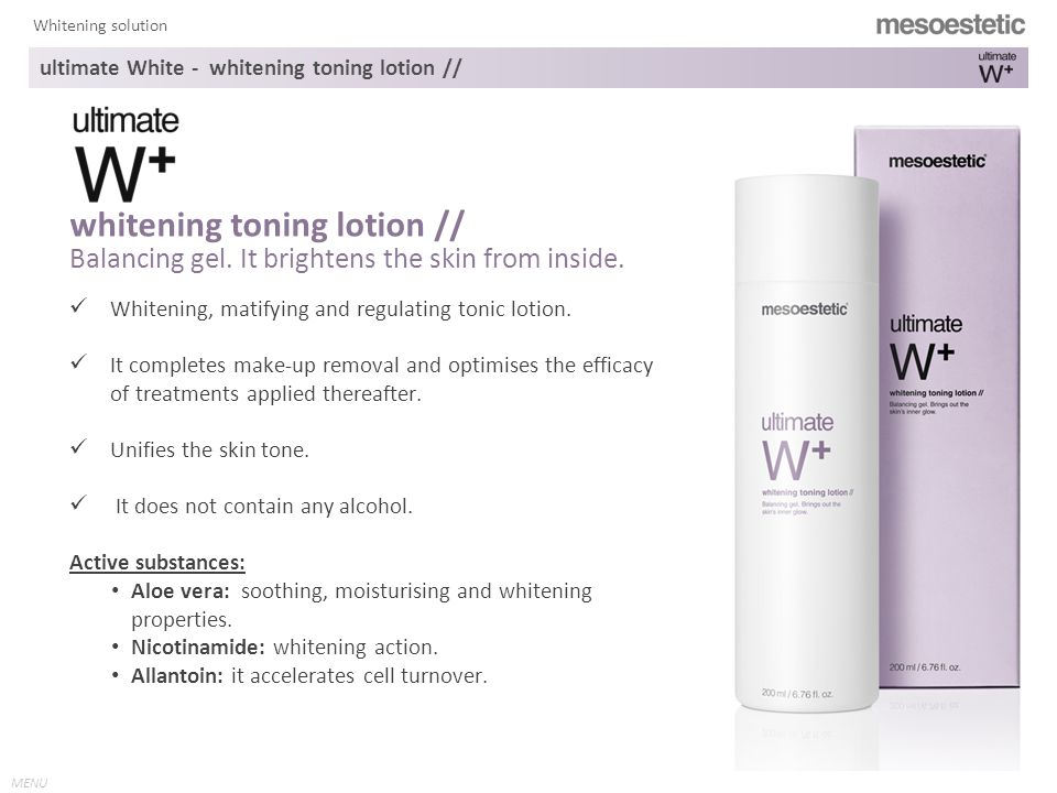 MENU Whitening solution whitening solution by mesoestetic ® intensive treatment Home care treatment ultimate White