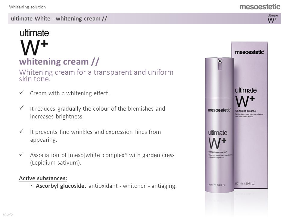 MENU Whitening solution Cream with a whitening effect.