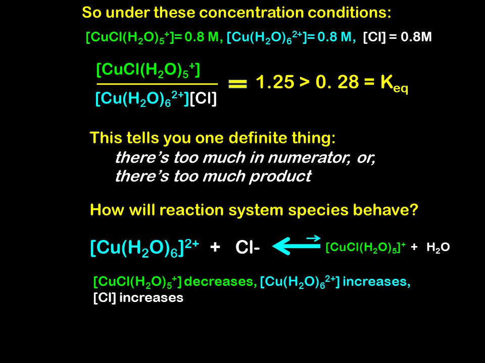 So under these concentration conditions: [Cu(H 2 O) 6 ] 2+ + Cl- [CuCl(H 2 O) 5 ] + + H 2 O [Cu(H 2 O) 6 2+ ][Cl] [CuCl(H 2 O) 5 + ] How will reaction system species behave.