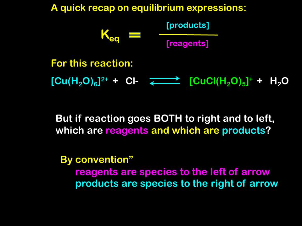 A quick recap on equilibrium behavior: [Cu(H 2 O) 6 ] 2+ + Cl-[CuCl(H 2 O) 5 ] + + H 2 O You observed this chemical system: When you added excess Cl- : [Cu(H 2 O) 6 ] 2+ + Cl- [CuCl(H 2 O) 5 ] + + H 2 O When you added excess H 2 O: [Cu(H 2 O) 6 ] 2+ + Cl- [CuCl(H 2 O) 5 ] + + H 2 O
