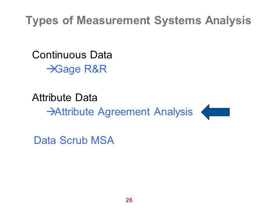 26 Types of Measurement Systems Analysis Continuous Data  Gage R&R Attribute Data  Attribute Agreement Analysis Data Scrub MSA