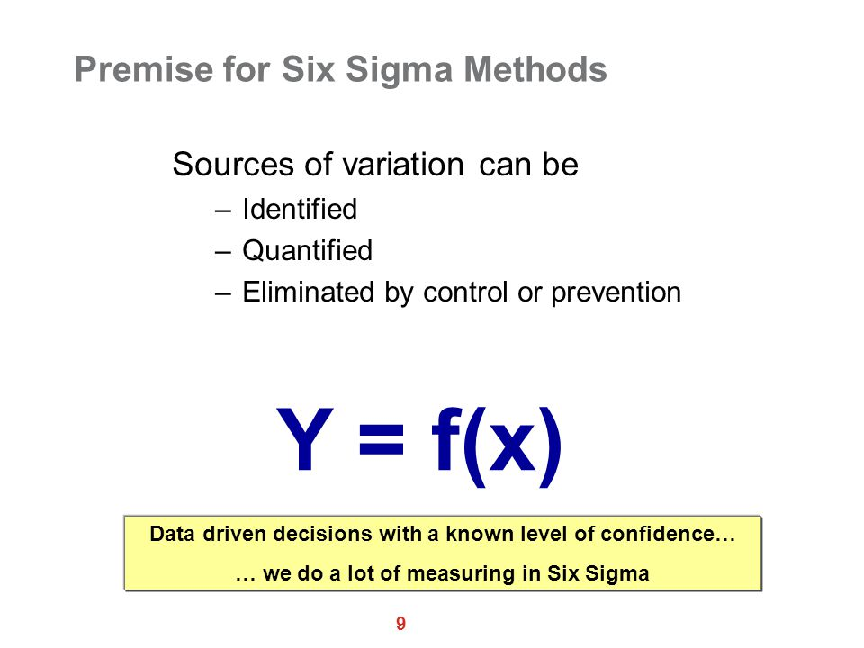 9 Premise for Six Sigma Methods Sources of variation can be –Identified –Quantified –Eliminated by control or prevention Y = f(x) Data driven decisions with a known level of confidence… … we do a lot of measuring in Six Sigma