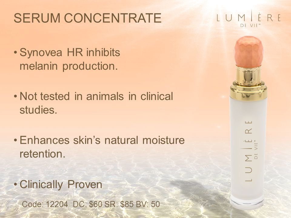SERUM CONCENTRATE Synovea HR inhibits melanin production.