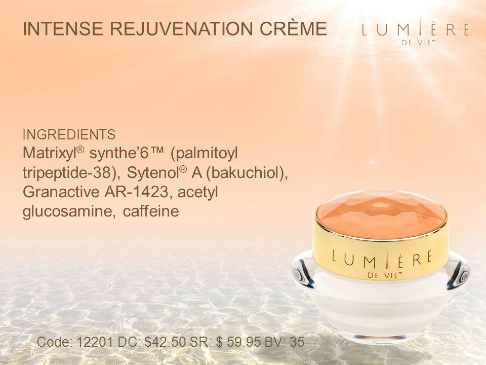 INTENSE REJUVENATION CRÈME INGREDIENTS Matrixyl ® synthe'6™ (palmitoyl tripeptide-38), Sytenol ® A (bakuchiol), Granactive AR-1423, acetyl glucosamine