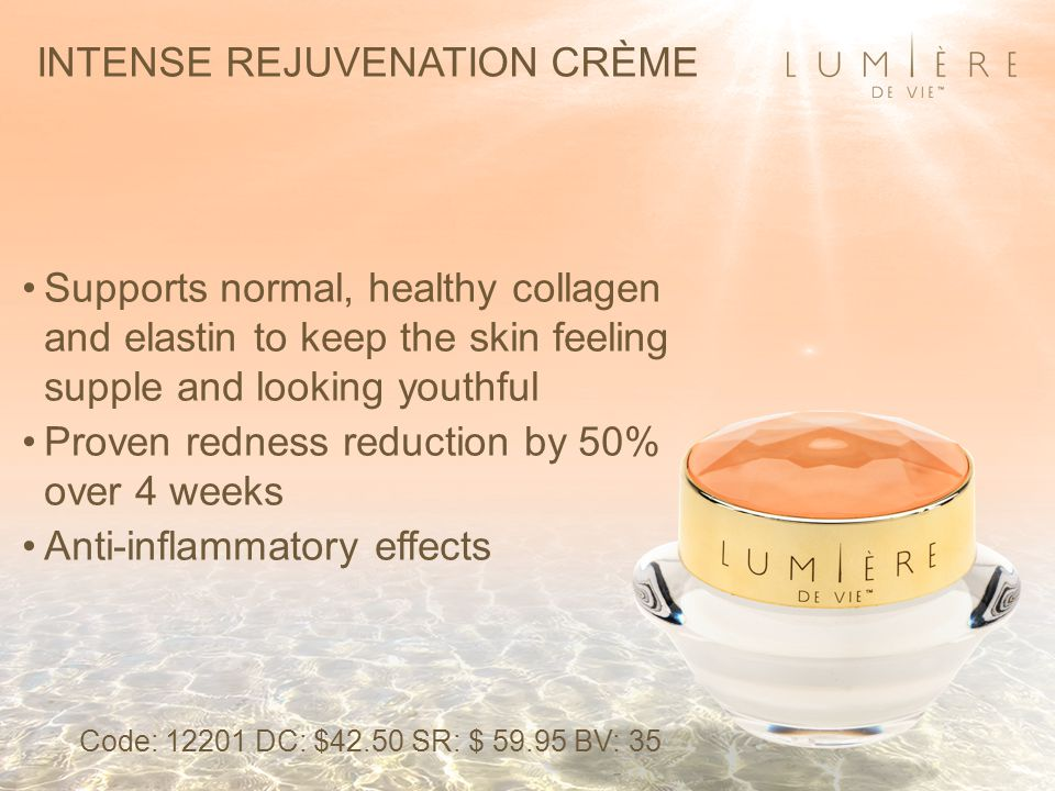 INTENSE REJUVENATION CRÈME Supports normal, healthy collagen and elastin to keep the skin feeling supple and looking youthful Proven redness reduction by 50% over 4 weeks Anti-inflammatory effects Code: 12201 DC: $42.50 SR: $ 59.95 BV: 35