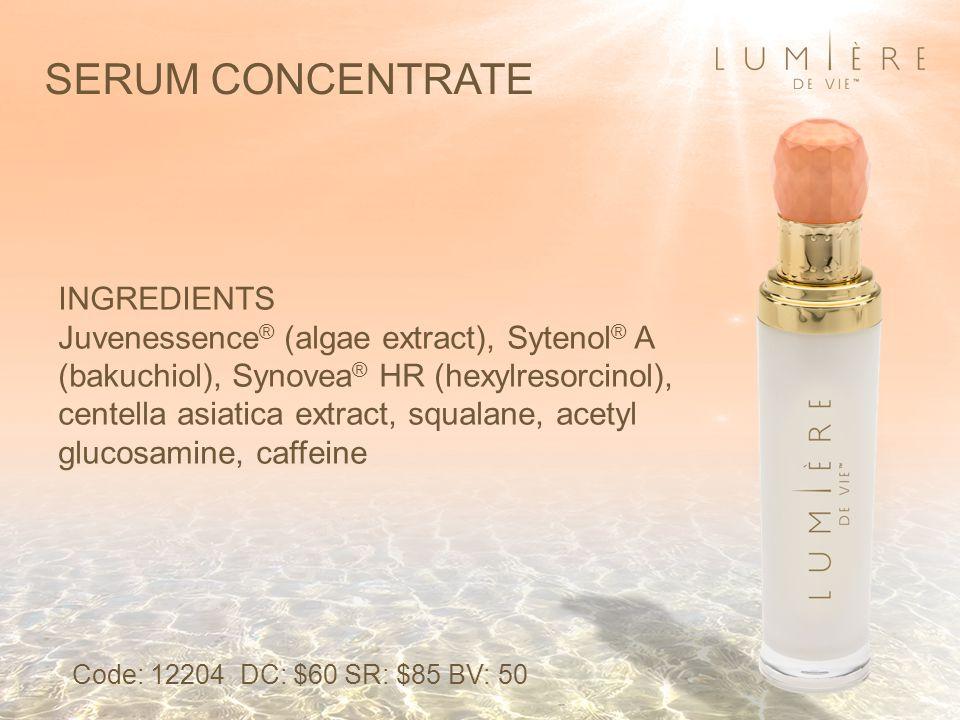 SERUM CONCENTRATE INGREDIENTS Juvenessence ® (algae extract), Sytenol ® A (bakuchiol), Synovea ® HR (hexylresorcinol), centella asiatica extract, squa