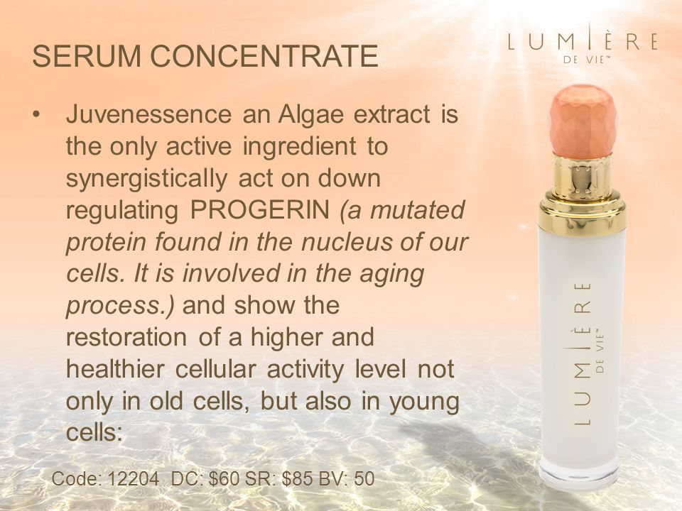 Juvenessence an Algae extract is the only active ingredient to synergistically act on down regulating PROGERIN (a mutated protein found in the nucleus of our cells.
