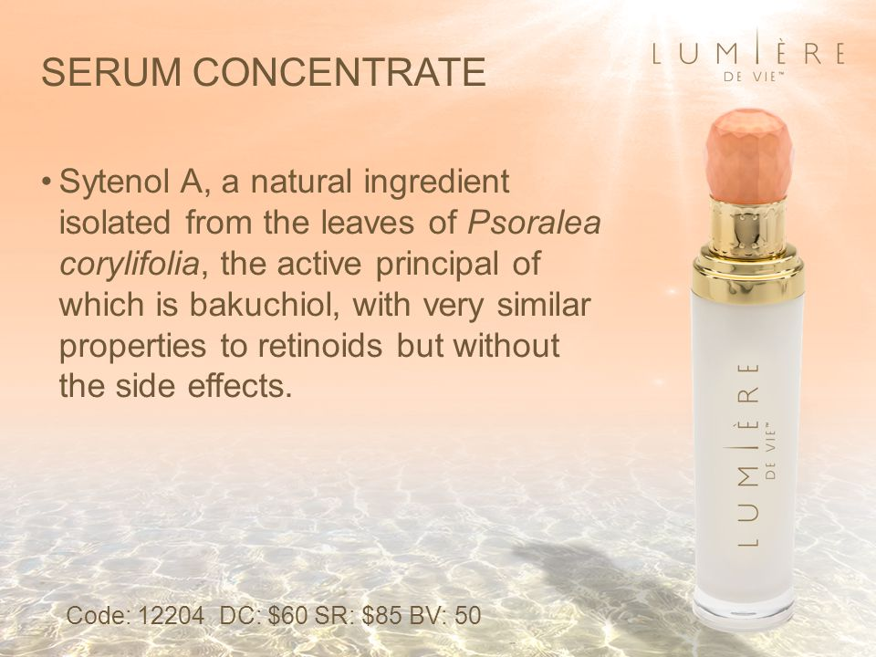 SERUM CONCENTRATE Sytenol A, a natural ingredient isolated from the leaves of Psoralea corylifolia, the active principal of which is bakuchiol, with very similar properties to retinoids but without the side effects.