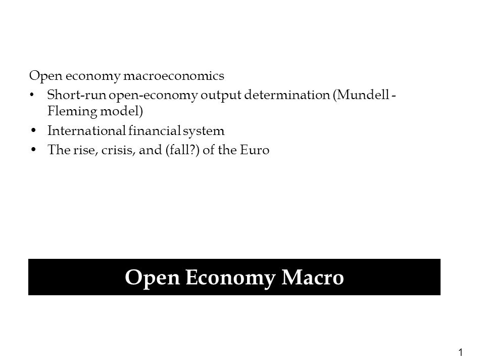 1 Open economy macroeconomics Short-run open-economy output determination (Mundell - Fleming model) International financial system The rise, crisis, a