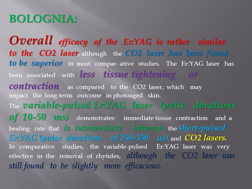 BOLOGNIA: Overall efficacy of the Er:YAG is rather similar to the CO2 laserCO2 laser has been found to be superior less tissue tightening or contracti