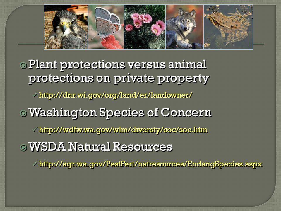  Plant protections versus animal protections on private property http://dnr.wi.gov/org/land/er/landowner/  Washington Species of Concern http://wdfw.wa.gov/wlm/diversty/soc/soc.htm  WSDA Natural Resources http://agr.wa.gov/PestFert/natresources/EndangSpecies.aspx  Plant protections versus animal protections on private property http://dnr.wi.gov/org/land/er/landowner/  Washington Species of Concern http://wdfw.wa.gov/wlm/diversty/soc/soc.htm  WSDA Natural Resources http://agr.wa.gov/PestFert/natresources/EndangSpecies.aspx