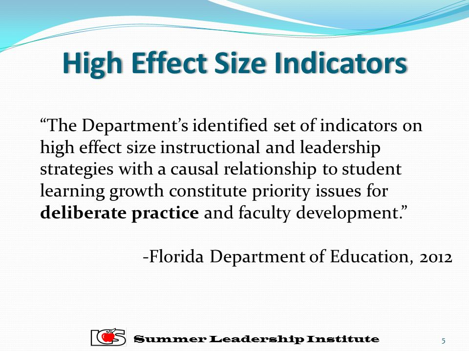 "High Effect Size IndicatorsHigh Effect Size Indicators Summer Leadership Institute ""The Department's identified set of indicators on high effect size"