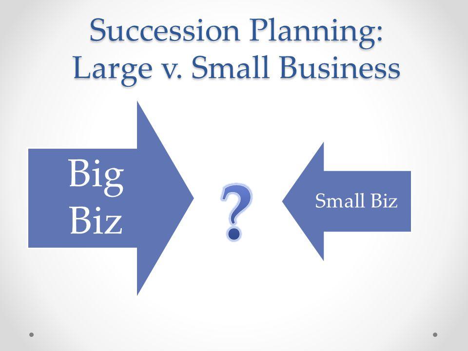 Succession Planning: Large v. Small Business Big Biz Small Biz