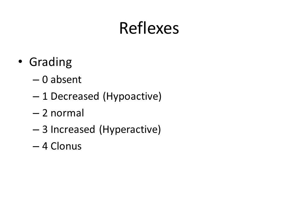 Reflexes Grading – 0 absent – 1 Decreased (Hypoactive) – 2 normal – 3 Increased (Hyperactive) – 4 Clonus