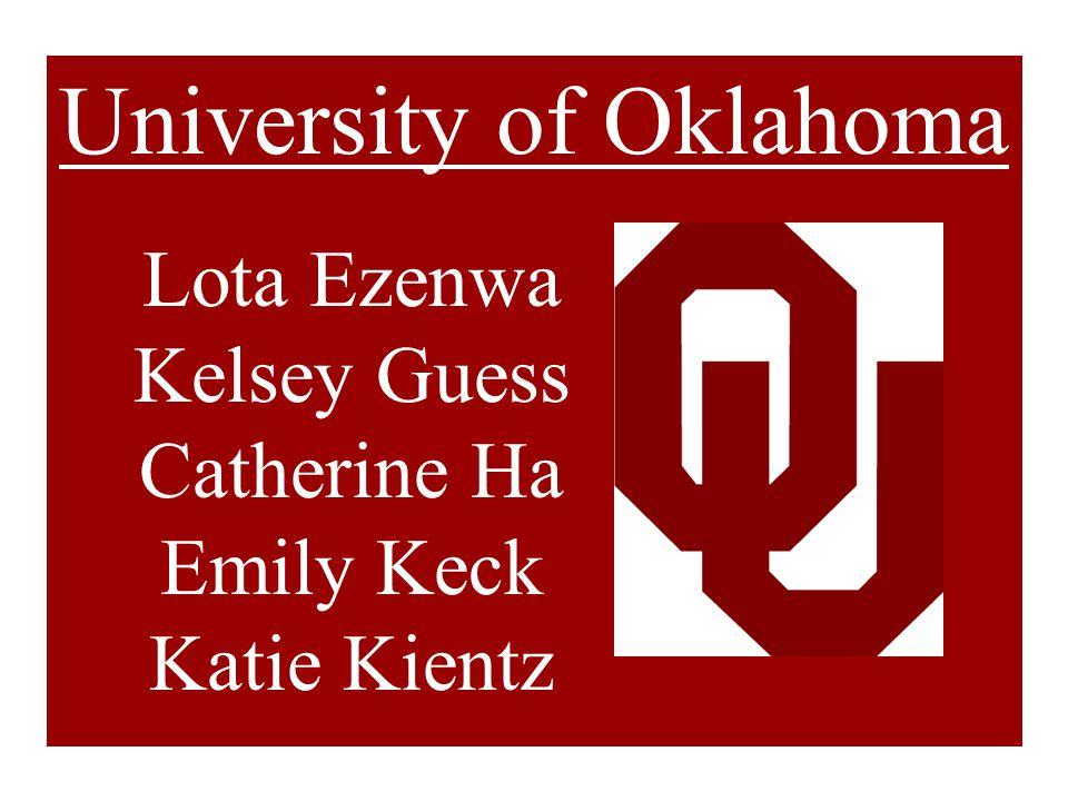 University of Oklahoma Lota Ezenwa Kelsey Guess Catherine Ha Emily Keck Katie Kientz