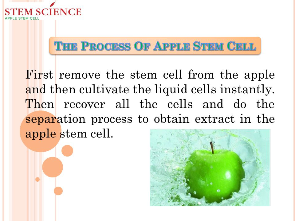 First remove the stem cell from the apple and then cultivate the liquid cells instantly.