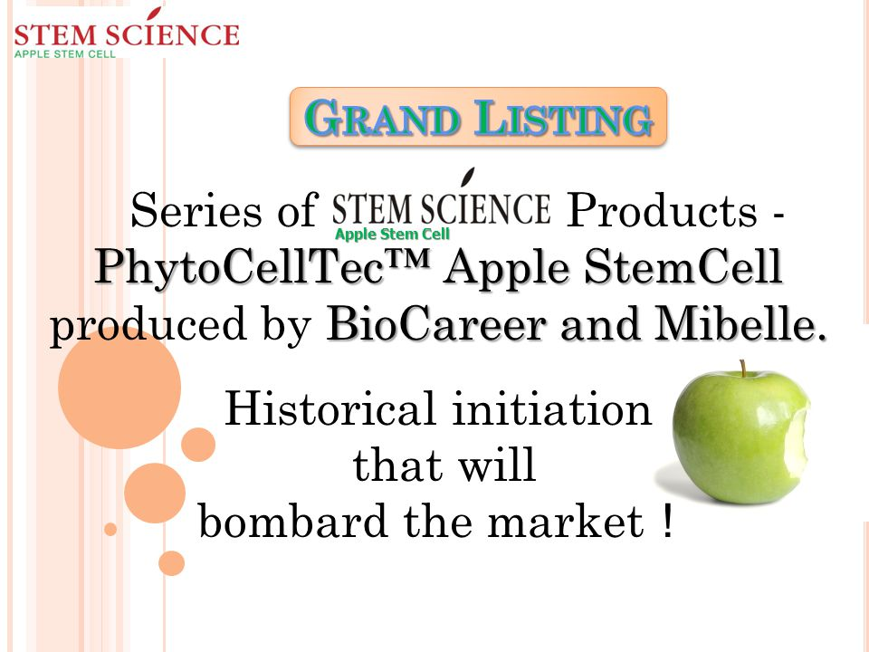 PhytoCellTec™ Apple StemCell BioCareer and Mibelle.