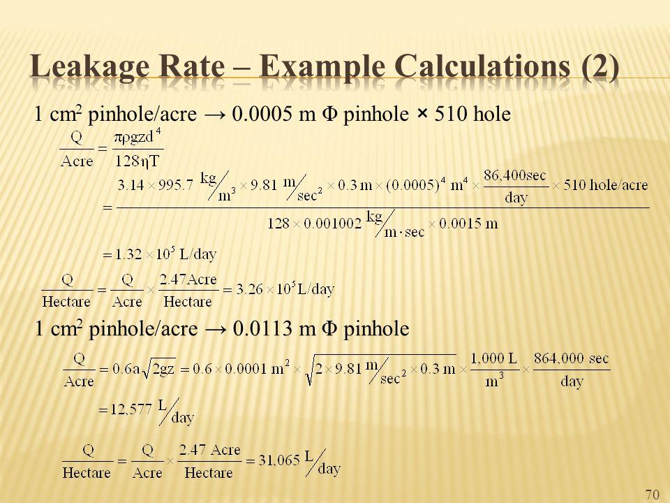 1 cm 2 pinhole/acre → 0.0005 m Φ pinhole × 510 hole 1 cm 2 pinhole/acre → 0.0113 m Φ pinhole 70