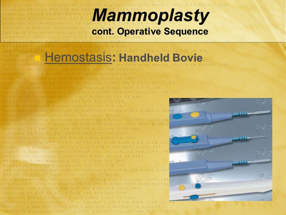 Mammoplasty cont. Operative Sequence Hemostasis: Handheld Bovie