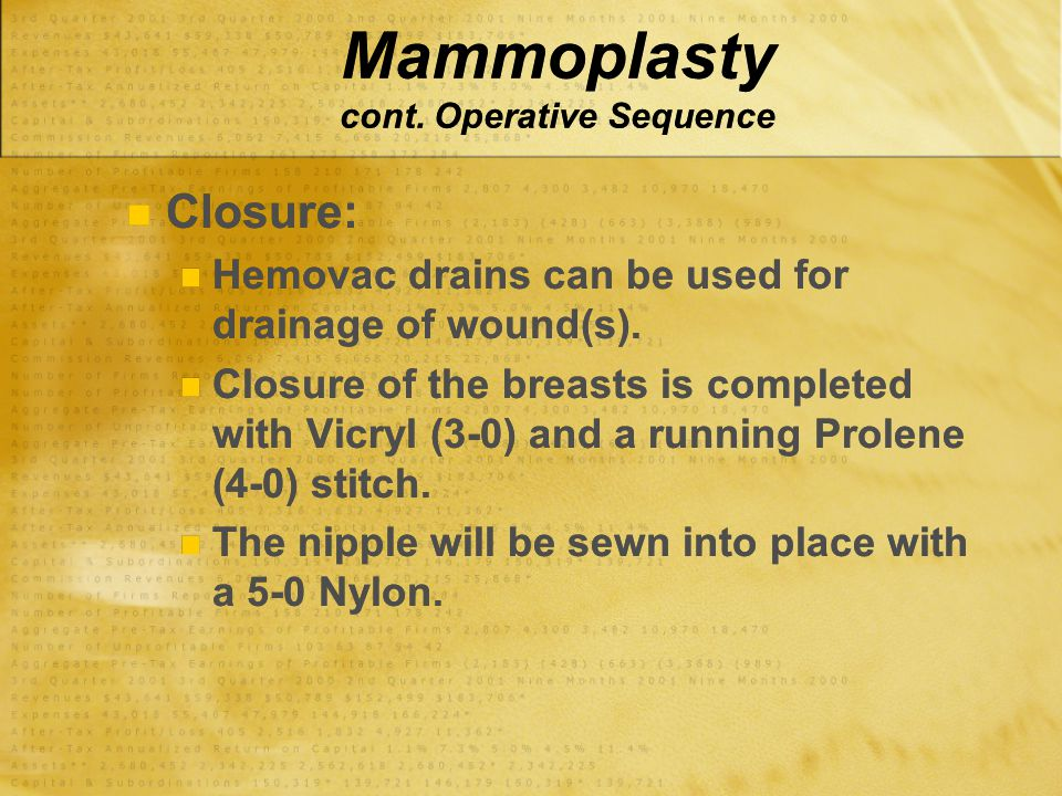 Mammoplasty cont. Operative Sequence Closure: Hemovac drains can be used for drainage of wound(s). Closure of the breasts is completed with Vicryl (3-