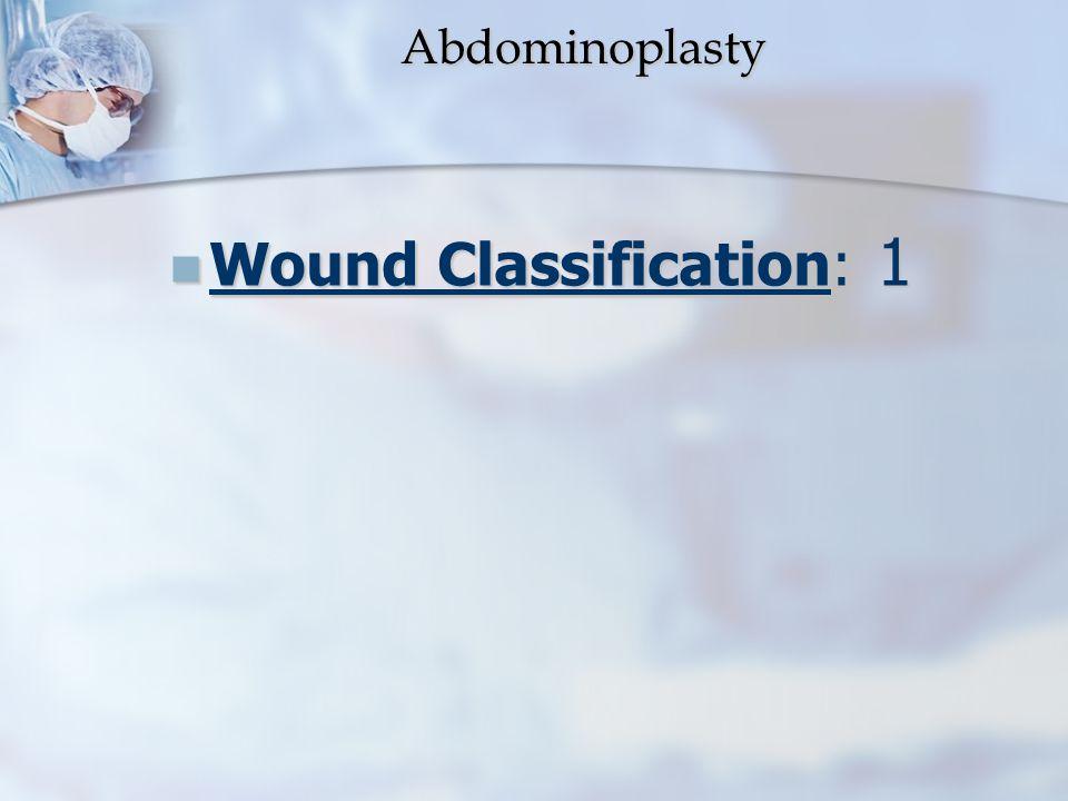 Abdominoplasty Abdominoplasty Wound Classification: 1 Wound Classification: 1