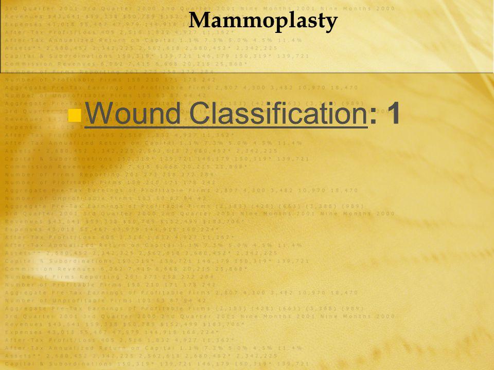 Mammoplasty Wound Classification: 1