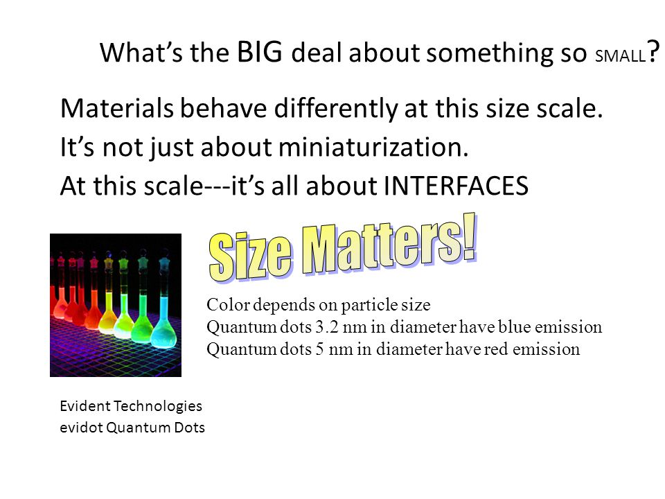 What's the BIG deal about something so SMALL . Materials behave differently at this size scale.