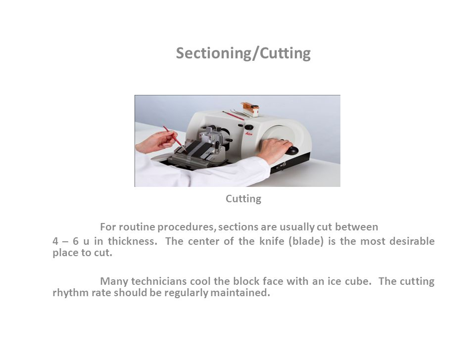 Sectioning/Cutting Cutting For routine procedures, sections are usually cut between 4 – 6 u in thickness.