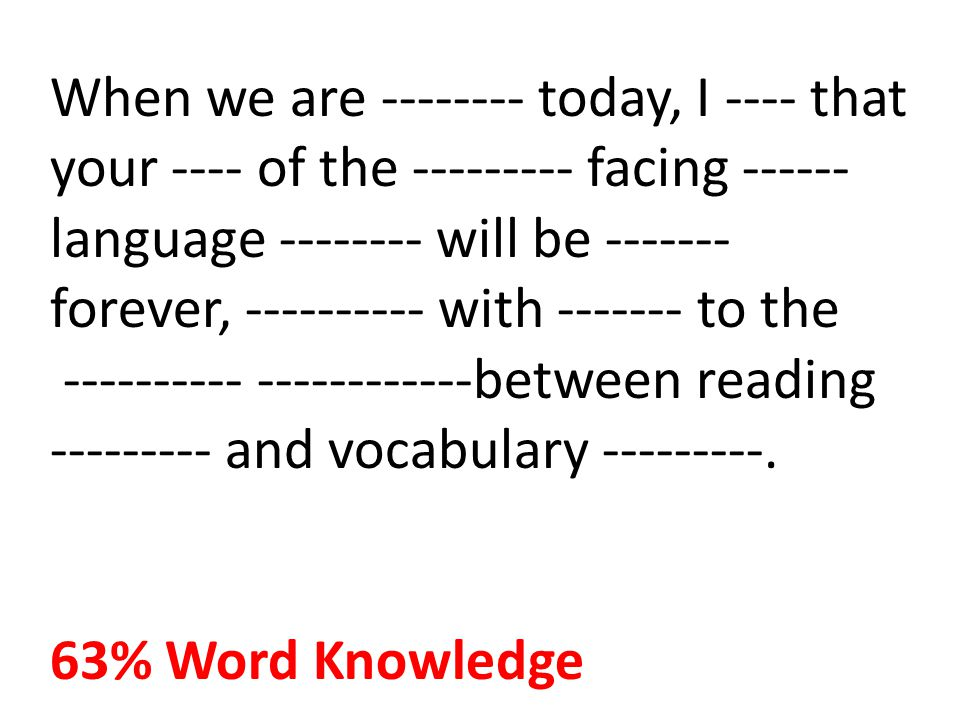 When we are -------- today, I ---- that your ---- of the --------- facing ------ language -------- will be ------- forever, ---------- with ------- to the ---------- ------------between reading --------- and vocabulary ---------.