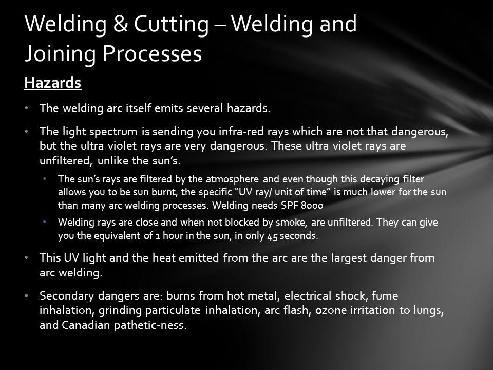 Hazards The welding arc itself emits several hazards.