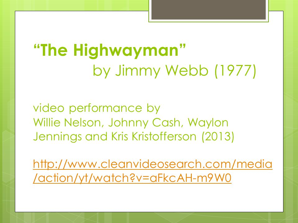 """The Highwayman"" by Jimmy Webb (1977) video performance by Willie Nelson, Johnny Cash, Waylon Jennings and Kris Kristofferson (2013) http://www.cleanv"