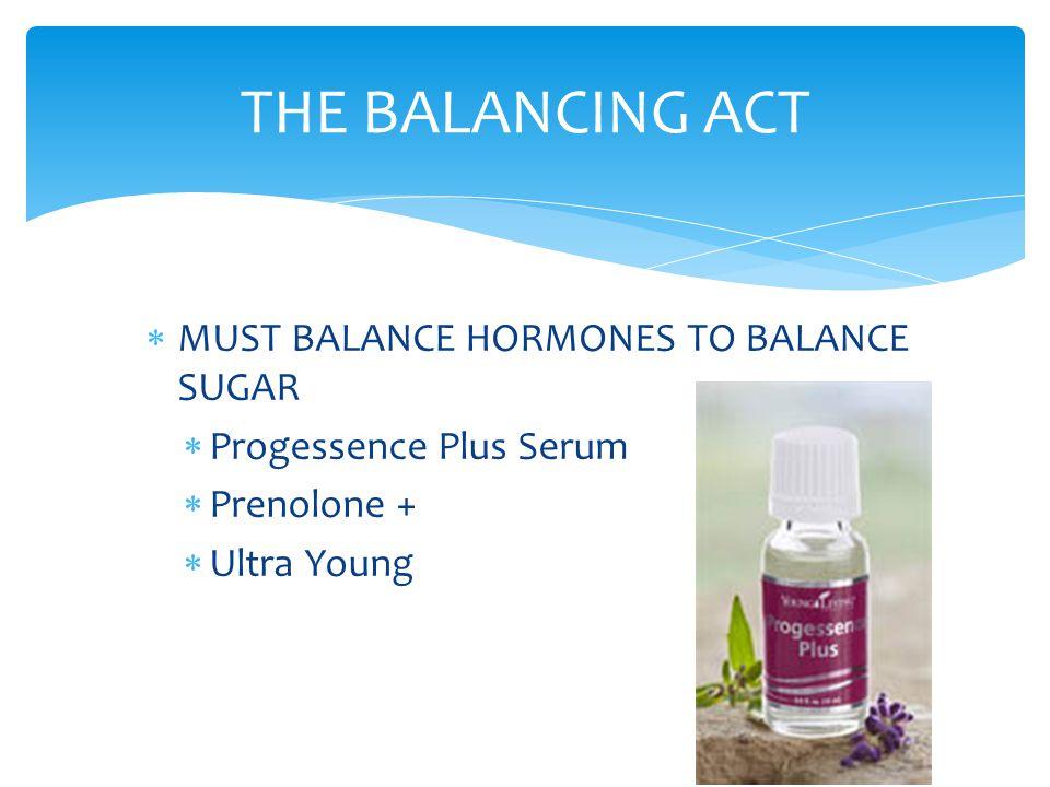  MUST BALANCE HORMONES TO BALANCE SUGAR  Progessence Plus Serum  Prenolone +  Ultra Young THE BALANCING ACT