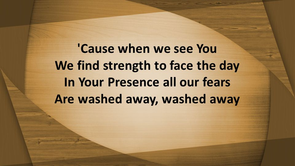 'Cause when we see You We find strength to face the day In Your Presence all our fears Are washed away, washed away