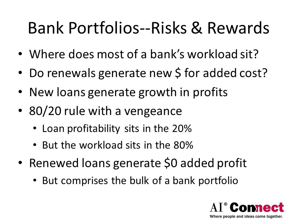 Bank Portfolios--Risks & Rewards Where does most of a bank's workload sit.
