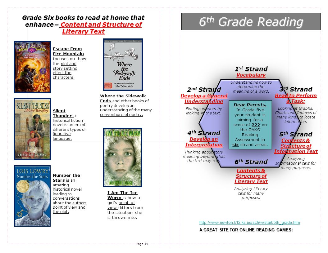 Page 19 Dear Parents, In Grade five your student is aiming for a score of 222 on the OAKS Reading Assessment in six strand areas.