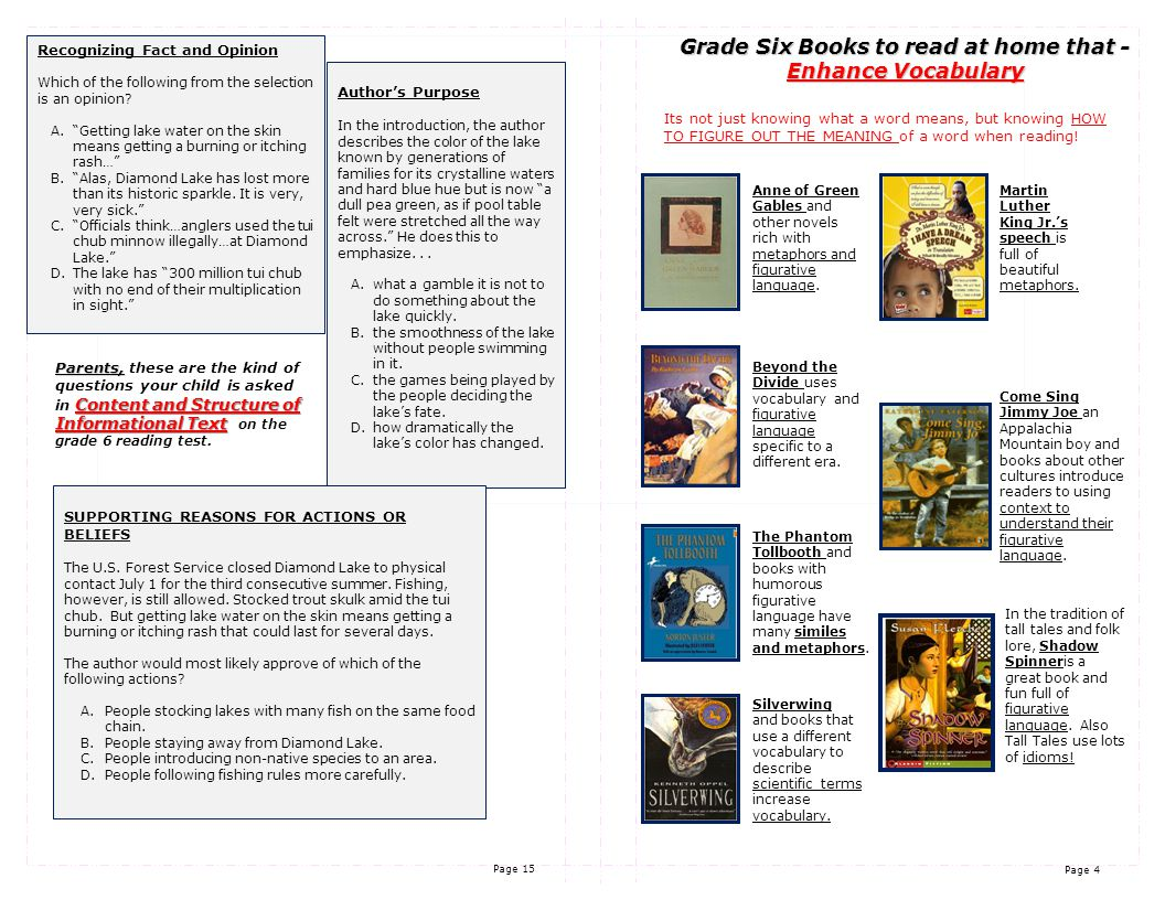 Page 4 Page 15 Grade Six Books to read at home that - Enhance Vocabulary Its not just knowing what a word means, but knowing HOW TO FIGURE OUT THE MEANING of a word when reading.
