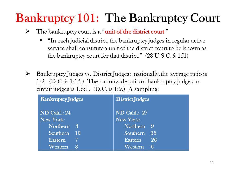 14 Bankruptcy 101: The Bankruptcy Court  The bankruptcy court is a unit of the district court.  In each judicial district, the bankruptcy judges in regular active service shall constitute a unit of the district court to be known as the bankruptcy court for that district. (28 U.S.C.