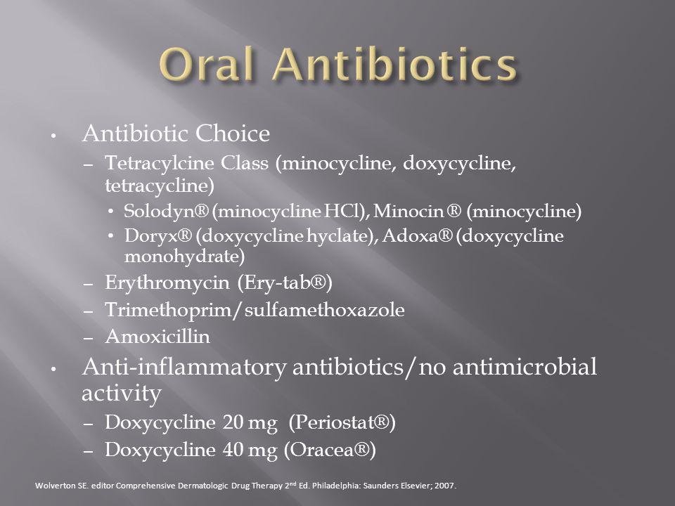 Antibiotic Choice – Tetracylcine Class (minocycline, doxycycline, tetracycline) Solodyn® (minocycline HCl), Minocin ® (minocycline) Doryx® (doxycyclin