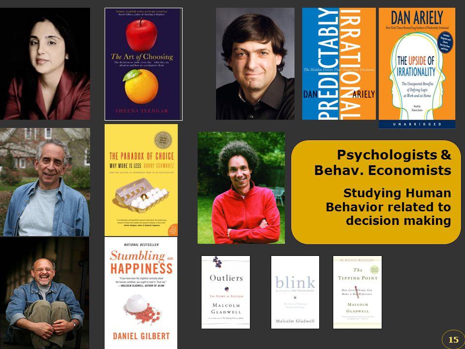 15 Psychologists & Behav. Economists Studying Human Behavior related to decision making