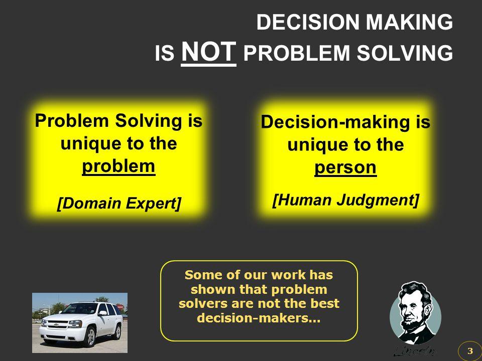 DECISION MAKING IS NOT PROBLEM SOLVING 3 Problem Solving is unique to the problem [Domain Expert] Problem Solving is unique to the problem [Domain Exp