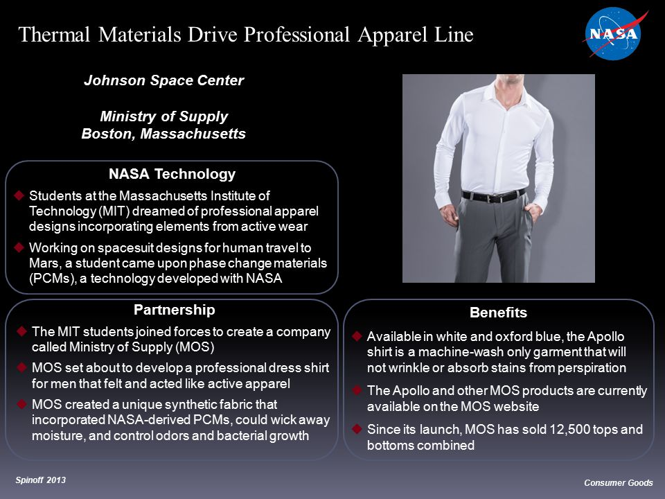 NASA Technology  Students at the Massachusetts Institute of Technology (MIT) dreamed of professional apparel designs incorporating elements from acti
