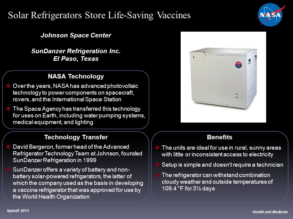 NASA Technology  Over the years, NASA has advanced photovoltaic technology to power components on spacecraft, rovers, and the International Space Sta