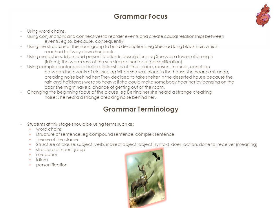 Grammar Focus Using word chains.
