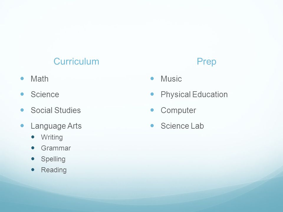 Curriculum Math Science Social Studies Language Arts Writing Grammar Spelling Reading Prep Music Physical Education Computer Science Lab