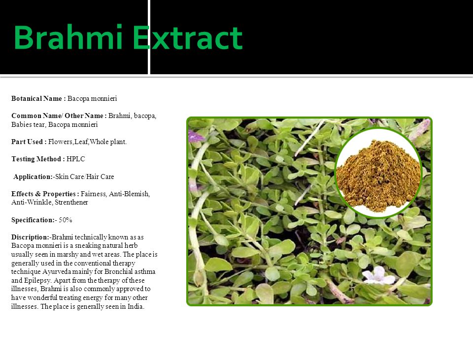 Brahmi Extract Botanical Name : Bacopa monnieri Common Name/ Other Name : Brahmi, bacopa, Babies tear, Bacopa monnieri Part Used : Flowers,Leaf,Whole plant.